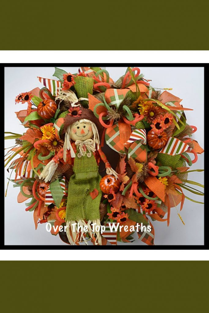 Fall Wreaths, Fall Scarecrow Wreath, Deco Mesh Wreath, Burlap Wreaths, Autumn Wreath, Moss Green Burlap Scarecrow. Fall Wreath By Over The Top Wreaths