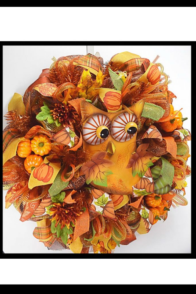 Fall Wreaths, Owl Wreath, Deco Mesh Wreath, Autumn Wreath, Orange Owl Wreath.