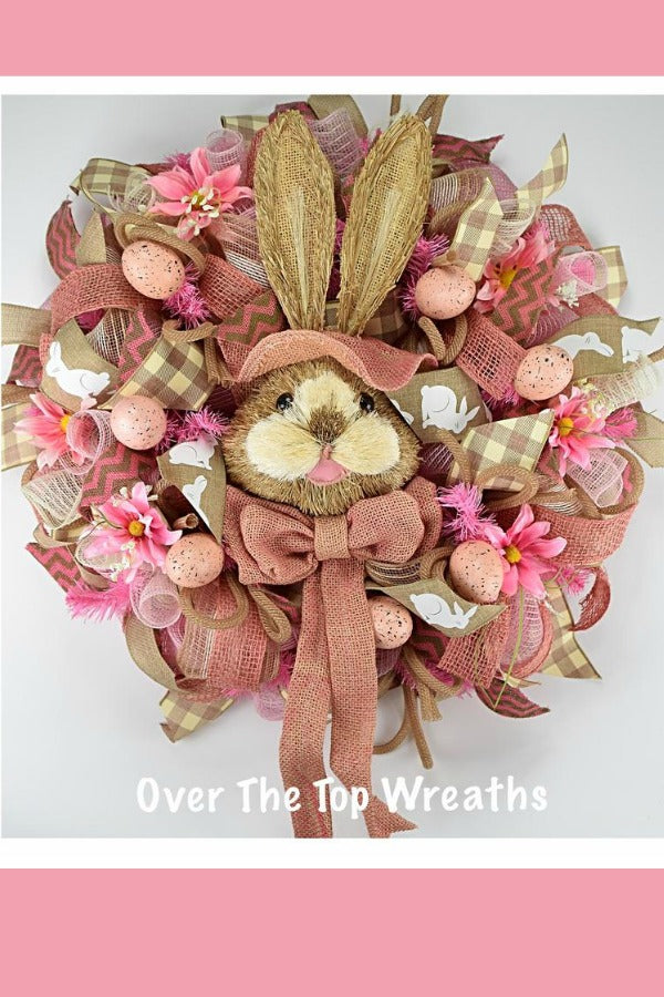 Easter Decor Bunny Door Wreath, Spring Wreath, Front Door Burlap Wreath, Easter Eggs, Pink Flower Wreath Housewarming Gift, Deco Mesh Wreath By Over The Top Wreaths. Handcrafted Easter Bunny Wreath Burlap in the USA.