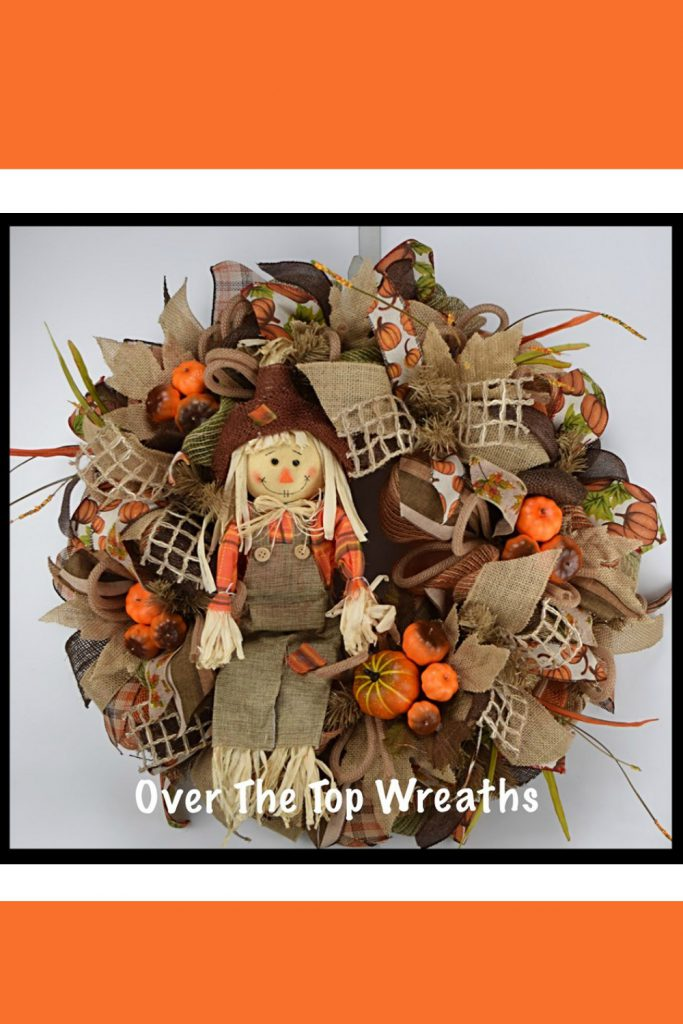 Fall Wreaths, Fall Scarecrow Wreath, Deco Mesh Wreath, Burlap Wreaths, Autumn Wreath, Burlap Scarecrow. Fall Wreath By Over The Top Wreaths