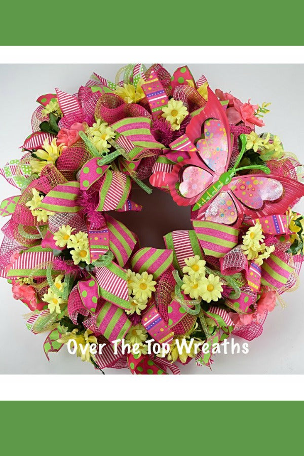 Spring Wreath Decor, Easter Wreath, Summer Welcome Wreath, Pink Butterfly Front Door Wreath, Yellow Flower Wreath, Fabric Wreath by Over The Top Wreaths. Handcrafted Spring Wreath in the USA.