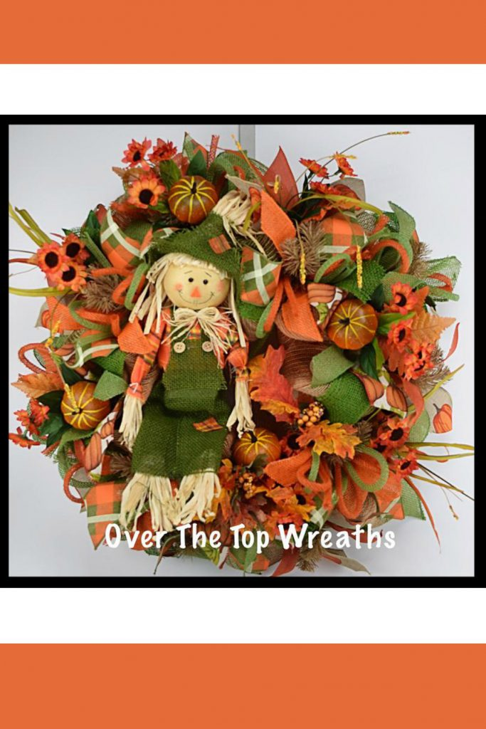 Fall Wreaths, Fall Scarecrow Wreath, Deco Mesh Wreath, Burlap Wreaths, Autumn Wreath, Dark Green Burlap Scarecrow.