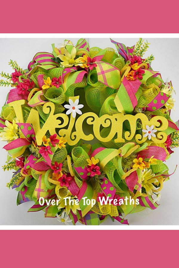Yellow Spring Wreath, Spring Decor Welcome Wreath, Summer Wreath for Door Decor, Front Door Wreath, Yellow, and Green Spring Flowers Wreath By Over The Top Wreaths. Handcrafted Spring Wreath in the USA.