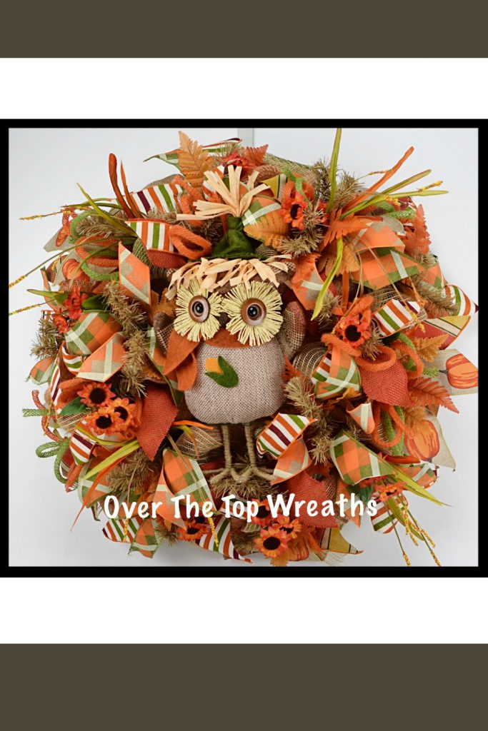 Fall Wreaths, Fall Owl Wreath, Deco Mesh Wreath, Burlap Wreaths, Autumn Wreath, Burlap Owl. Fall Wreath