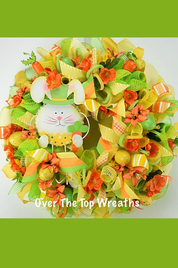Easter Wreath Door Decor, Floral Wreath, Easter Bunny Fabric Mesh Spring Wreath, Easter Eggs, Orange and Yellow Spring Flowers, Easter Gifts. Wreath By Over The Top Wreaths. Handcrafted Easter Bunny Wreath Burlap in the USA.