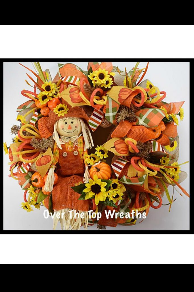 Fall Wreaths, Fall Scarecrow Wreath, Deco Mesh Wreath, Burlap Wreaths, Autumn Wreath, Orange Burlap Scarecrow. Fall Wreath By Over The Top Wreaths