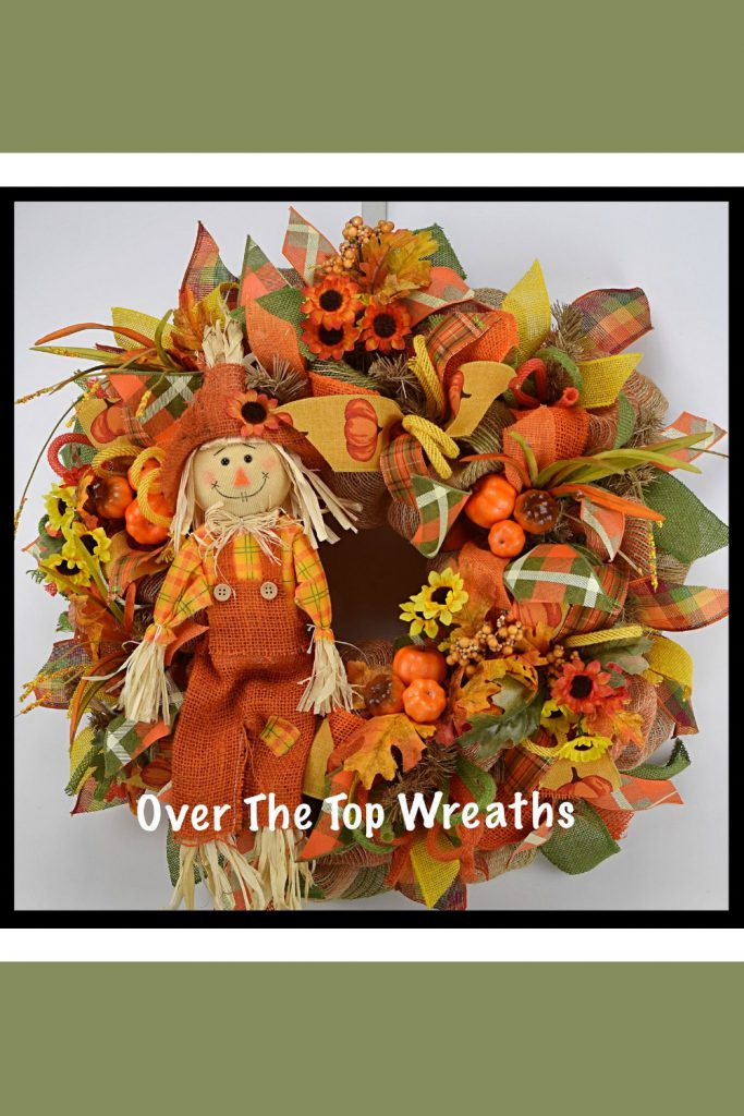 Fall Wreaths, Fall Scarecrow Wreath, Deco Mesh Wreath, Burlap Wreaths, Autumn Wreath, Orange Burlap, Scarecrow.