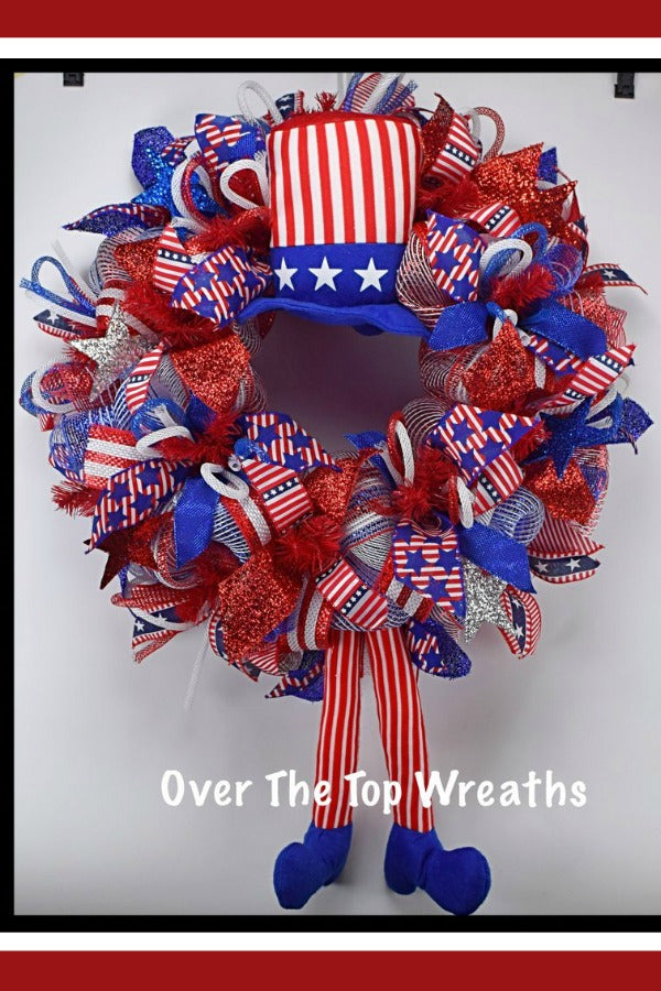 Patriotic Wreaths, 4th of July Wreath Door Decor, Deco Mesh Patriotic Wreath, Uncle Sam Wreath,Independence Day. Patriotic Wreath By Over The Top Wreaths. Handcrafted in the USA.
