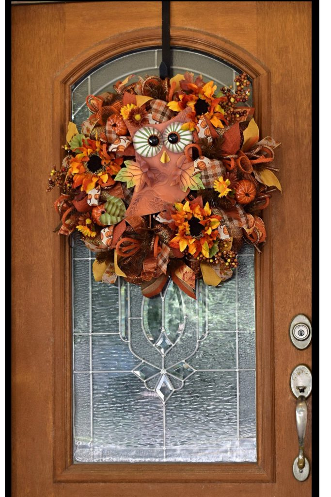 Fall Wreaths, Owl Wreath, Deco Mesh Wreath, Autumn Wreath, Orange Owl Wreath