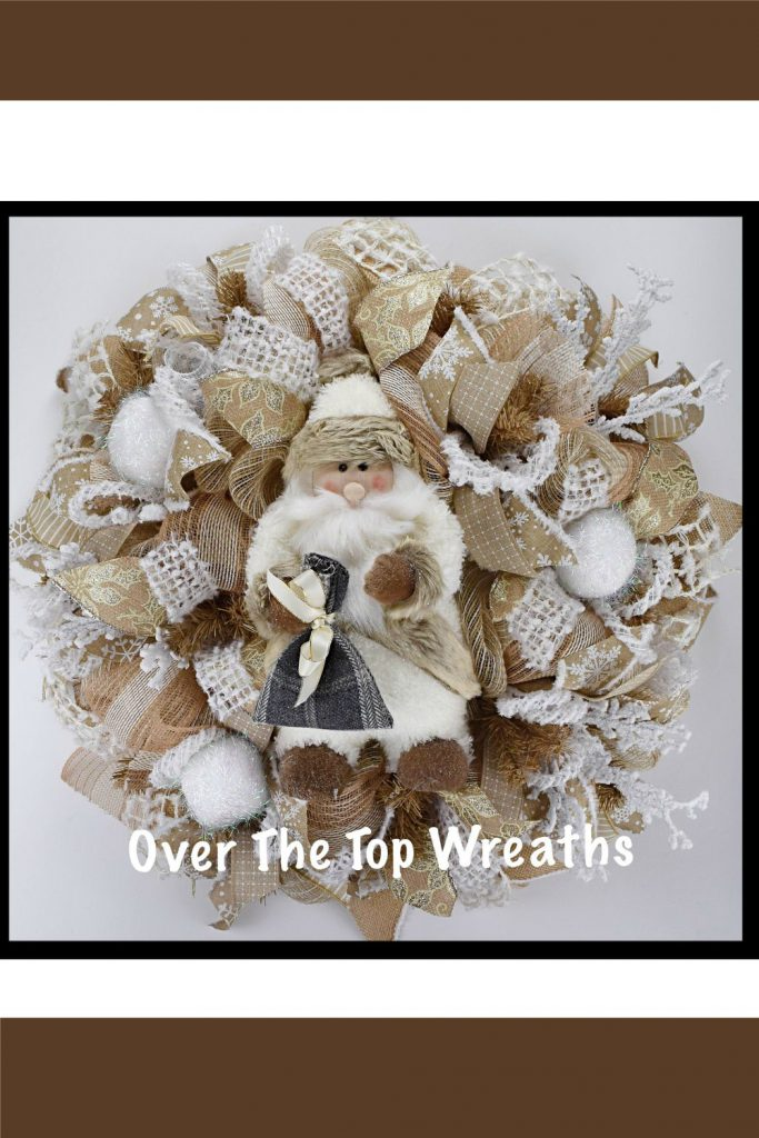 Mesh Wreath For Christmas, Santa Burlap Wreath, Santa Mesh Wreath, Burlap Wreath, Christmas Wreaths, Holiday Décor, Winter Wreath, Wreaths By Over The Top Wreaths. Handcrafted Santa Wreath