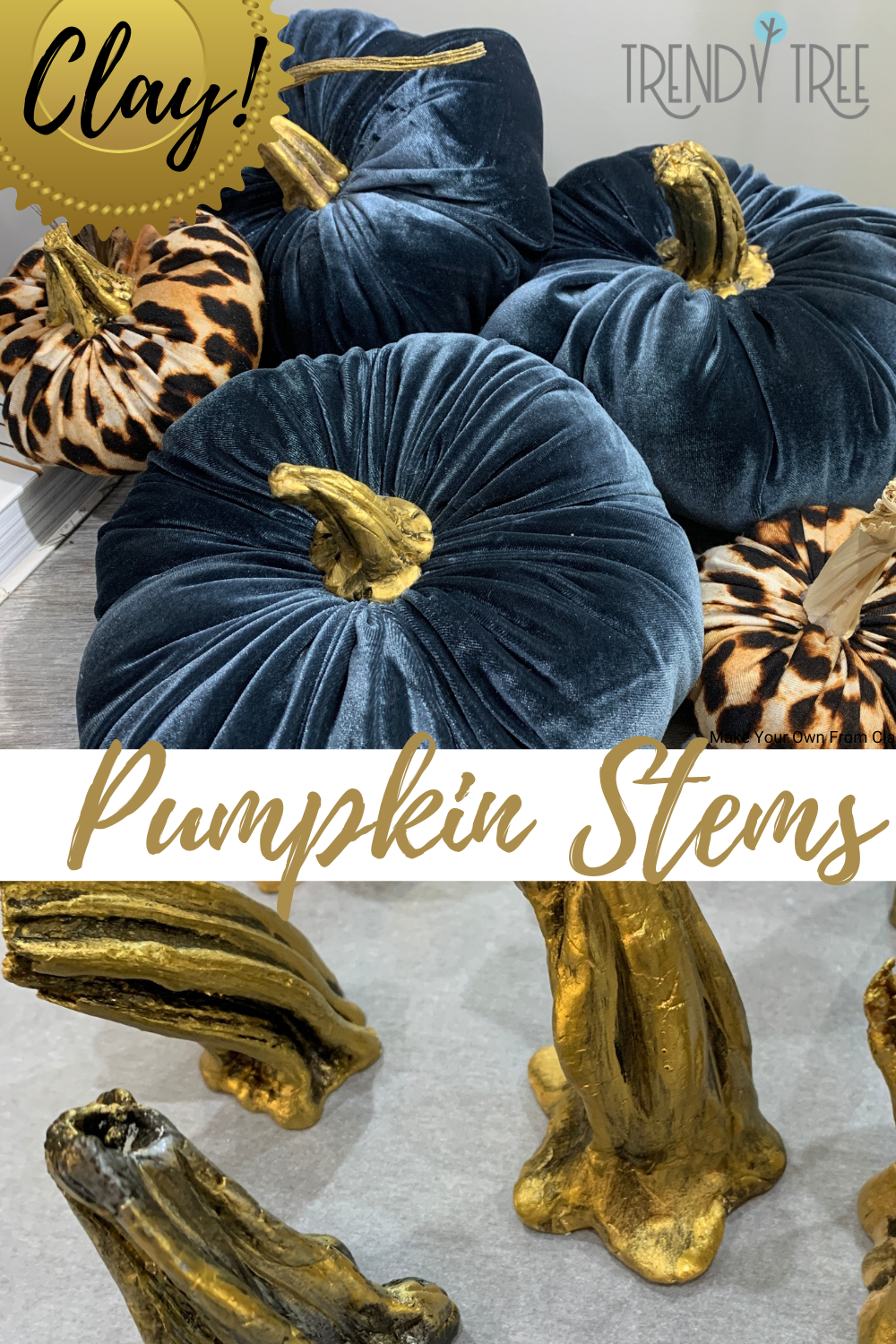 make pumpkin stems out of clay