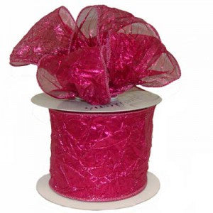 fuchsia crushed metallic wire edge ribbon