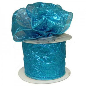 turquoise crushed metallic wire edge ribbon