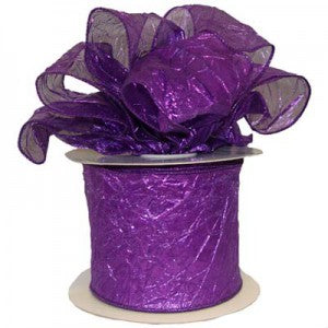 "purple crushed metallic wire edge ribbon 4"" x 25 yds"