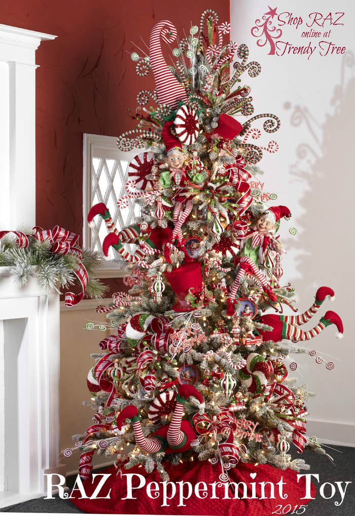 2015 RAZ Peppermint Toy Christmas Tree, shop http://www.trendytree.com for stunning Christmas decorations