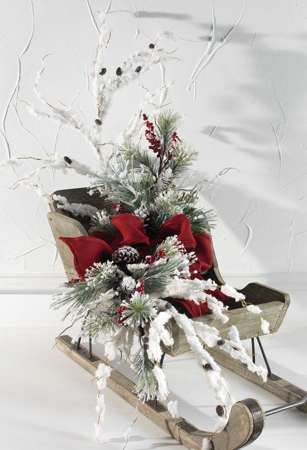 raz-antique-white-wood-sleigh-snowy-floral