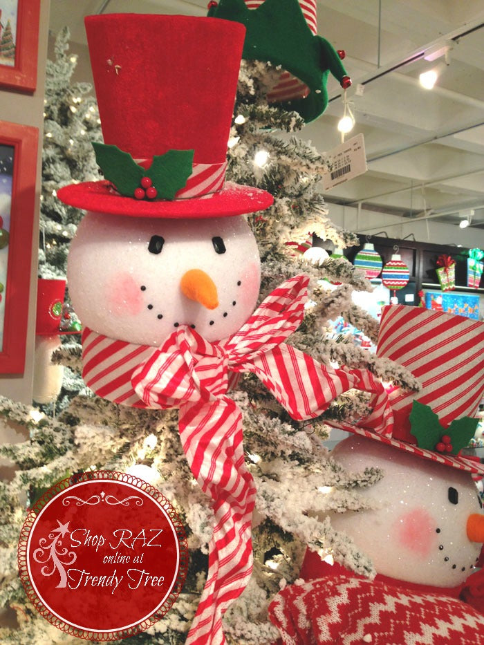 raz-peppermint-toy-snowman-head-tree-topper-solid-red-trendytree
