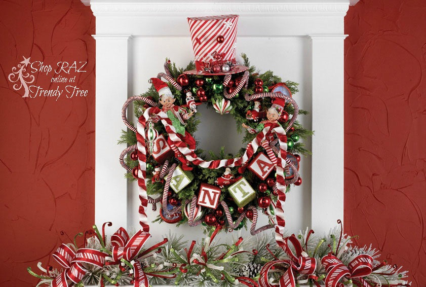 raz-peppermint-toy-wreath-swirled-top-hat-elves-trendytree