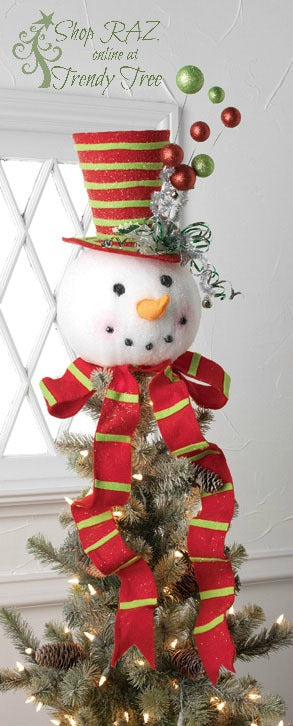 raz-snowman-head-tree-topper-striped-hat-trendytree