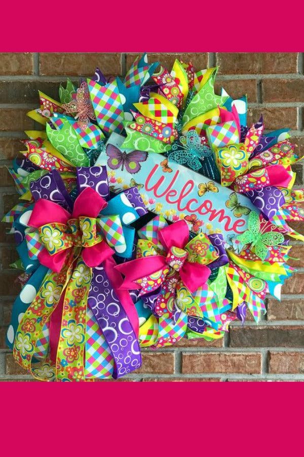 spring wreath, spring door wreath