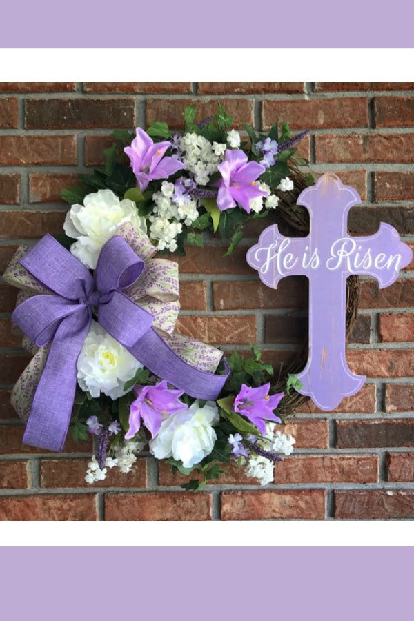 easter wreath, lavender easter wreath, he is risen,, religious wreath