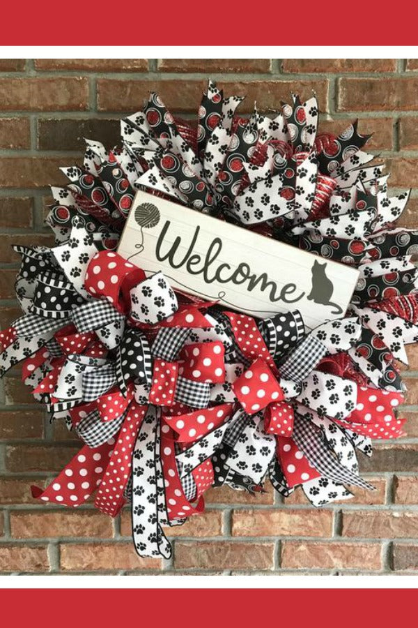 cat wreath, black white cat wreath, pet wreath, cat door wreath
