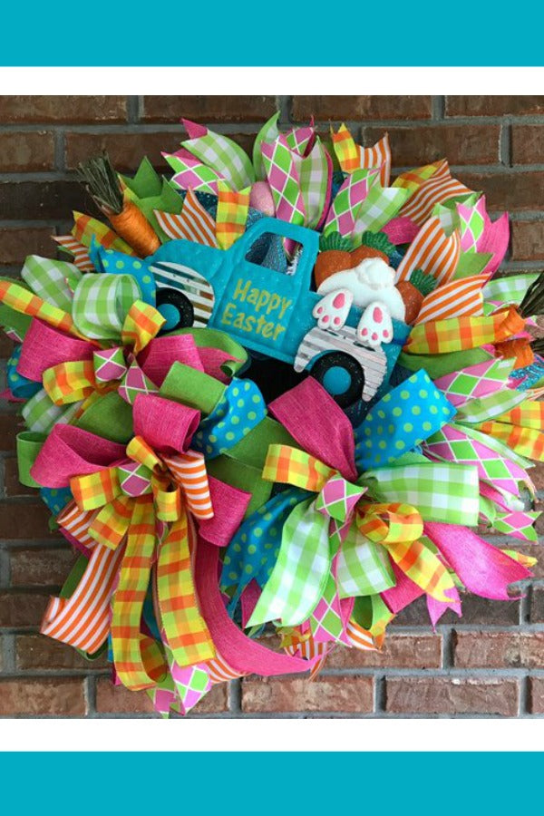 easter wreath, easter truck, blue truck wreath, bunny wreath, easter bunny