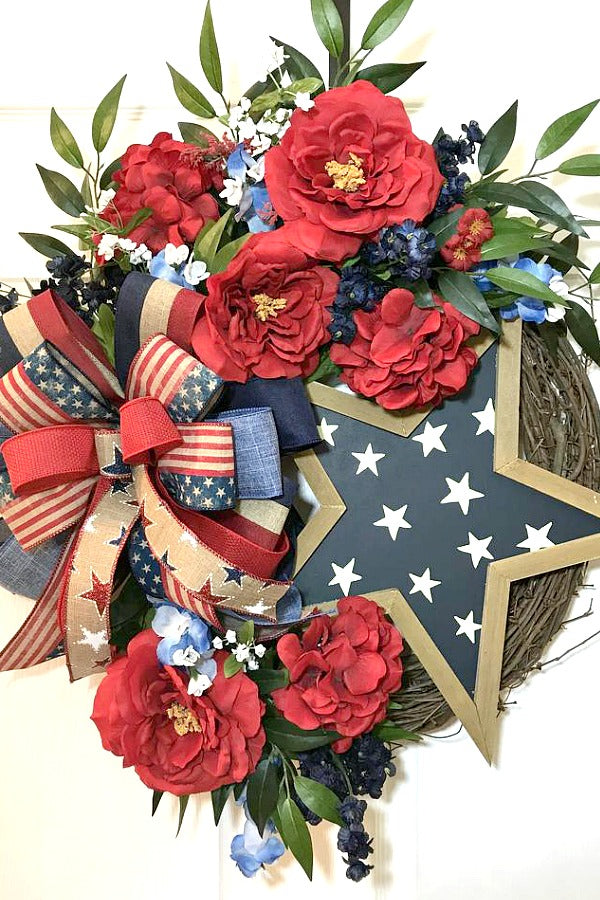 4th of July Grapevine, July 4th Wreaths, Independence Day, Summer Wreaths for Door, Patriotic Wreath, Memorial Day, Red White Blue Decor, Farmhouse Summer Wreath, Rustic Wreath