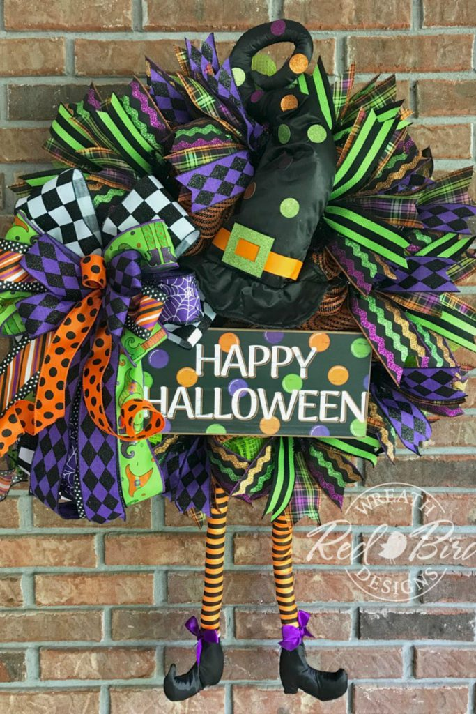 Best Halloween Wreath, Halloween Wreath, Trick or Treat Wreath, Halloween Decor, Witch Wreath, Fall Wreath, Harlequin Pumpkin, Door Decor, Spooky Wreath, October Wreath