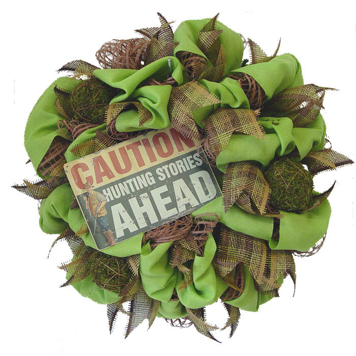rustic-wreath-caution-hunting-stories-ahead