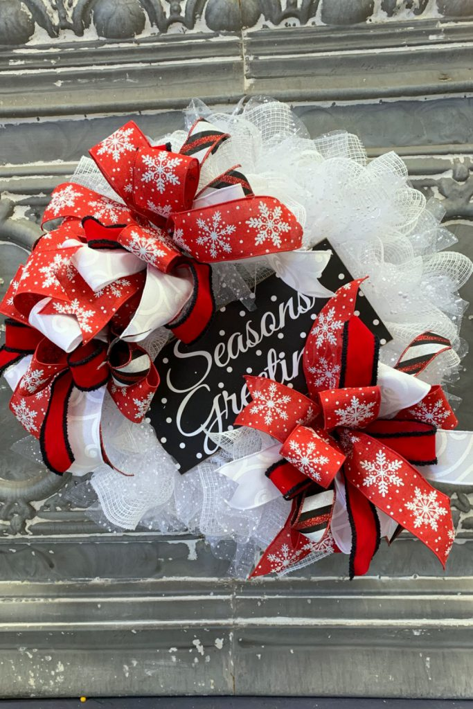 Season S Greetings Deco Mesh Wreath Trendy Tree