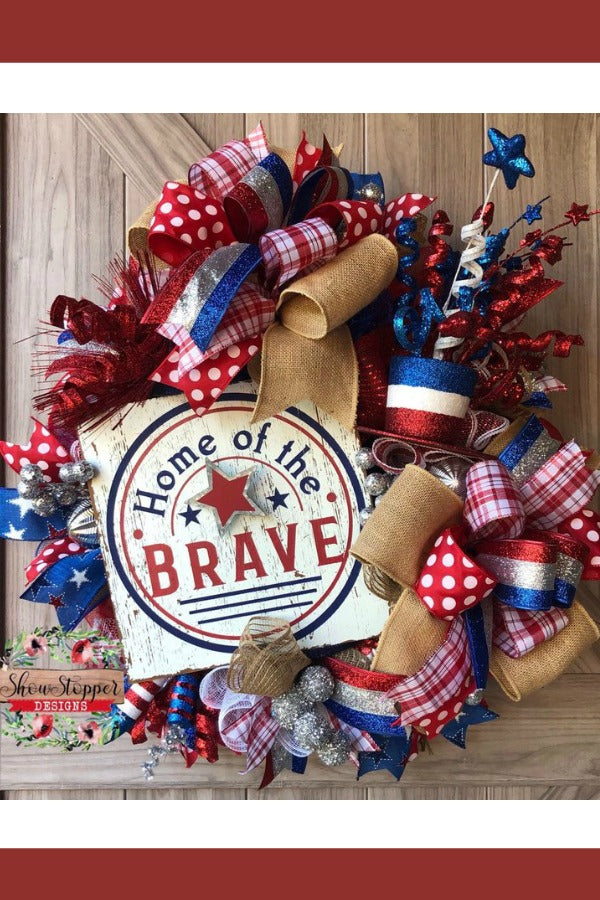 July 4th Wreath,Home of the Brave Wreath,USA Door Swag,Patriotic Wreath,Bless America Wreath,Uncle Sam Wreath,4th of July Wreath,USA Wreath