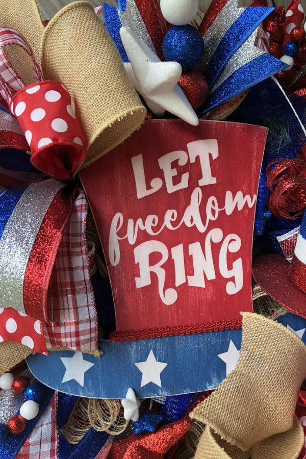 July 4th Wreath,Freedom Ring Wreath,God Bless USA Wreath,Patriotic Wreath,Patriotic Door Swag,Uncle Sam Wreath,4 of July Wreath,USA Wreath
