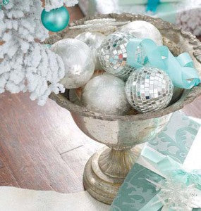 footed bowl with silver and turquoise balls