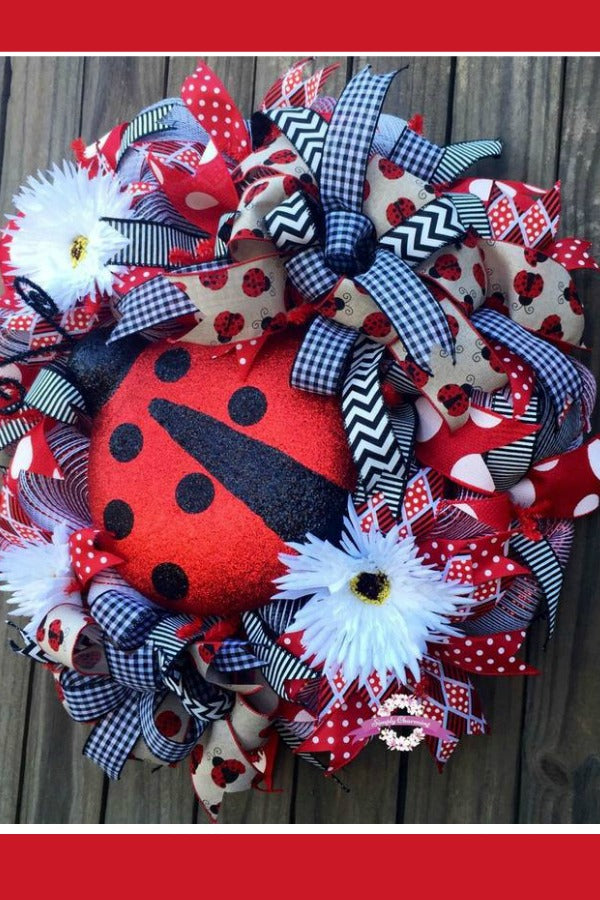 Summer Ladybug Wreath for Front Door, Ladybug Wreath, Summer Wreath, Lady Bug Wreath, Summertime Wreath, Red and Black Summer Wreath