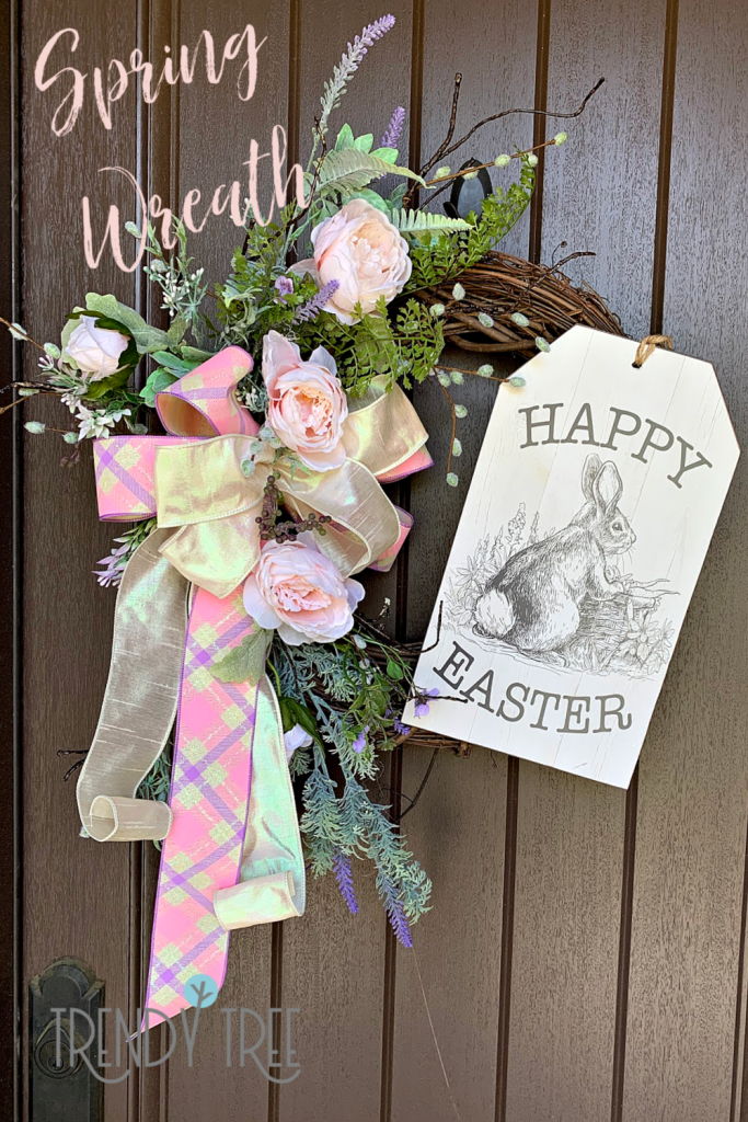 spring grapevine wreath, easter sign