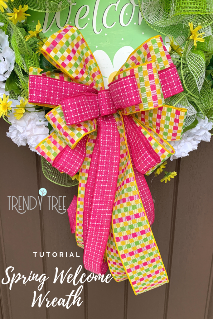 wreath bow, spring welcome wreath