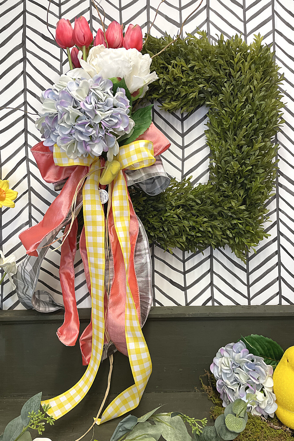 Dress up a premade wreath for spring