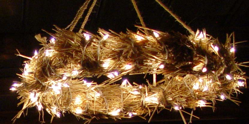 wreath light made out of straw