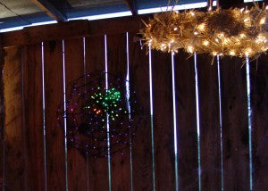 halloween light made from a straw wreath