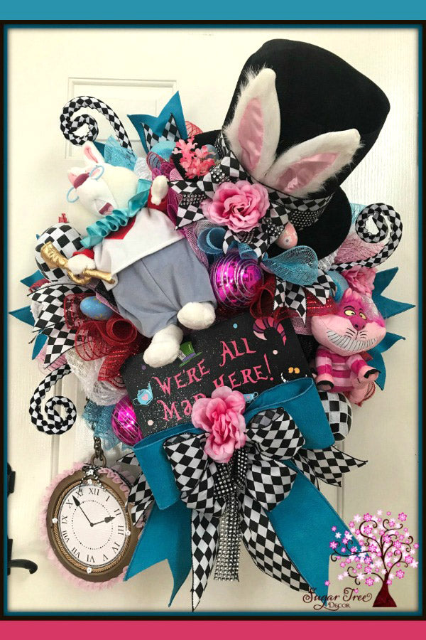 Mad Hatter Wreath, Easter Wreath, Bunny Wreath, Front Door Wreath, Spring Wreath, Easter Decor, Mad Hatter Rabbit