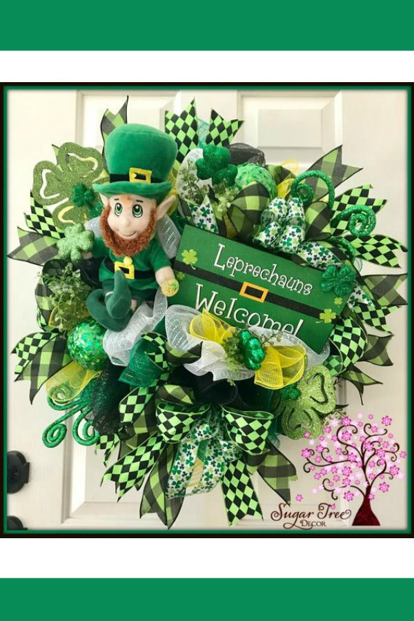 St Patricks Day Wreath, St Pattys Day Wreath, Door Wreath, St Patricks Deco Mesh Wreath, Shamrock Wreath, Leprechaun Wreath