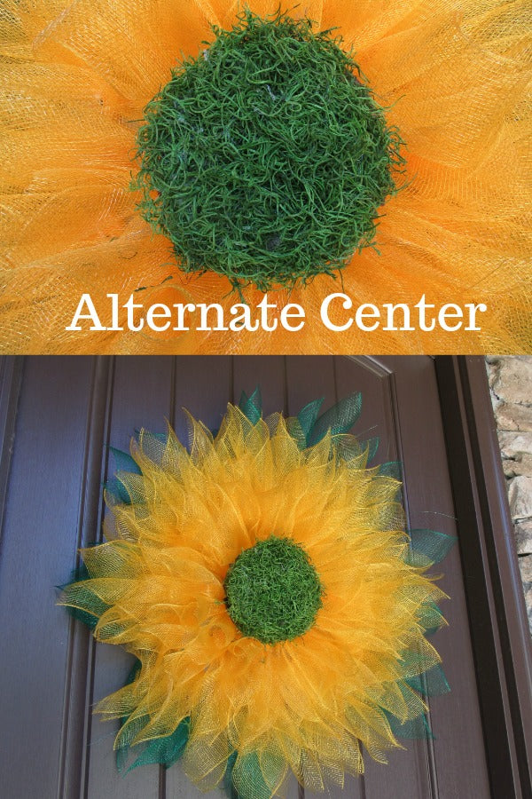 sunflower wreath, flower center, spanish moss,