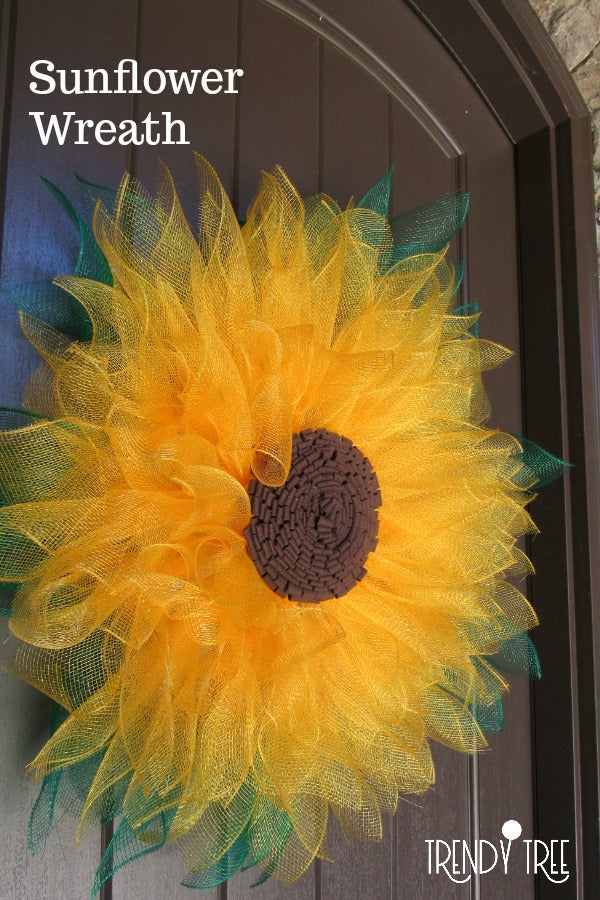 sunflower wreath, mesh sunflower, sunflower tutorial, make a sunflower