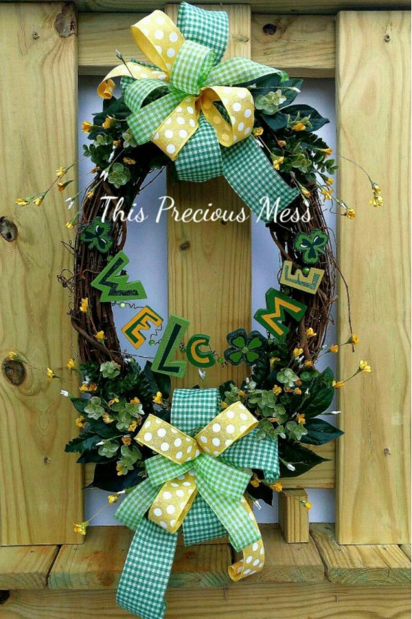 spring wreath, gingham bow, grapevinewreath