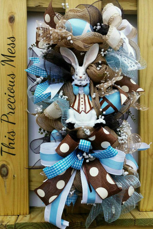 easter wreath, white rabbit, easter swag, door swag