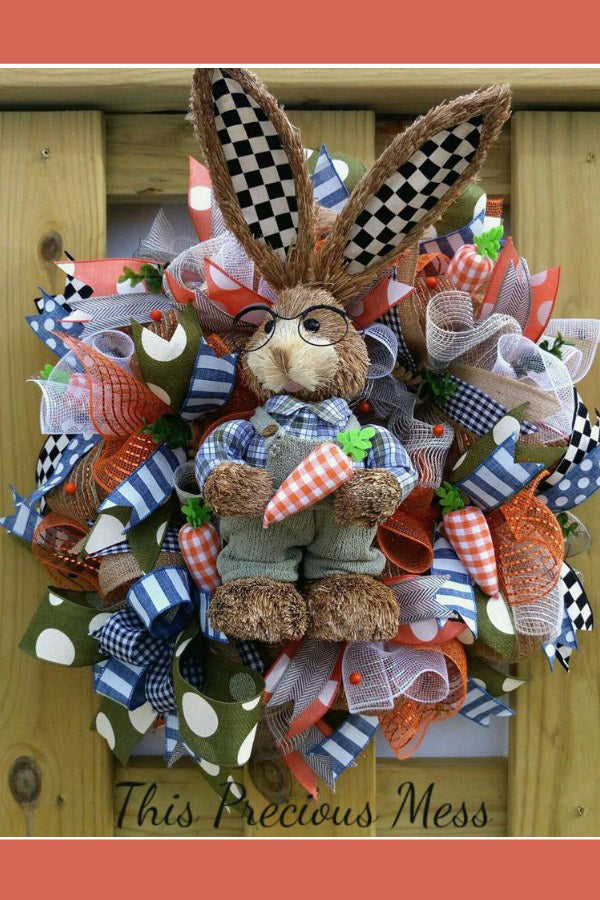 easter wreath, bunny wreath, door wreath, easter door wreath