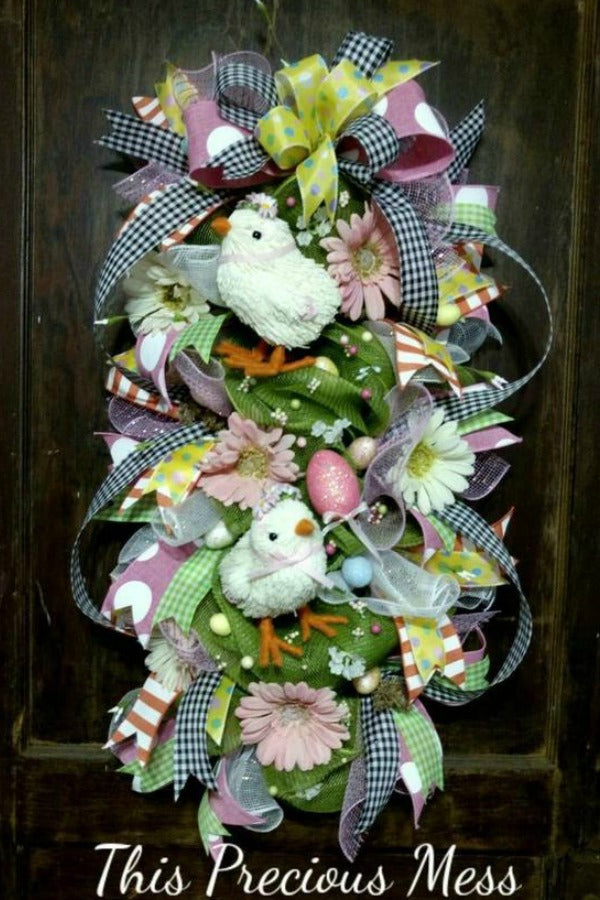 easter swag, easter wreath, door wreath, easter chick, spring flower wreath
