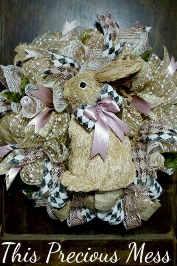 easter wreath, bunny wreath, easter door wreath, easter door hanger