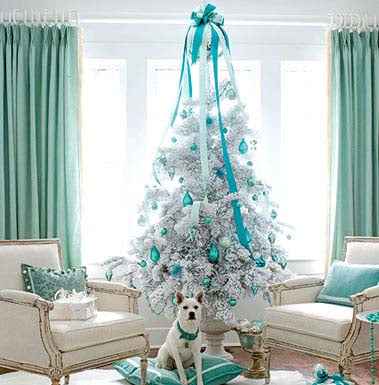 tree decorated with turquoise